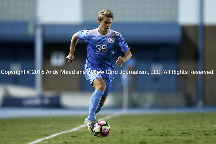 16 September 2016: North Carolina's Jack Skahan. The University of North Carolina Tar Heels hosted the University of Pittsburgh Panthers in Chapel Hill, North Carolina in a 2016 NCAA Division I Men's Soccer match. UNC won the game 1-0.