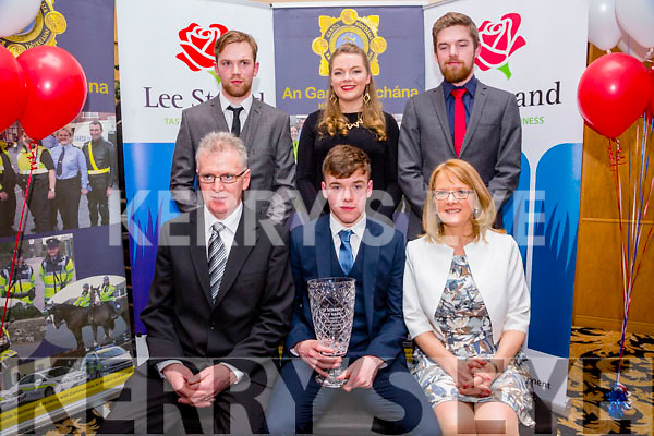 Overall Winner Brendan Coppinger, Killarney at the Lee Strand Kerry Garda Youth Achievement Awards 2016 in Ballyroe Hotel on Friday with family. Pictured front l-r  Jimmy  Coppinger, Brendan Coppinger, Berni  Coppinger Back l-r Sean Coppinger, Catherine Coppinger and Patrick Coppinger