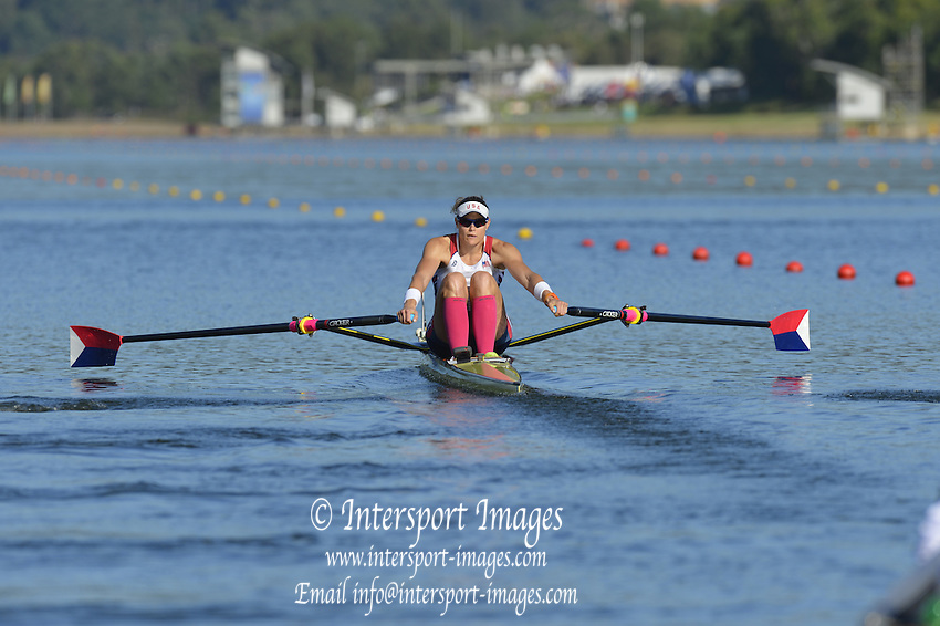 Sydney, Australia.  USA W1X,  Zsuzsanna FRANCIA, Women's Single Sculls, Heat. FISA World Cup I. and the Sydney International Rowing Regatta. Sydney International Rowing Centre, Penrith Lakes, NSW.   Friday   22/03/2013 [Mandatory Credit. Peter Spurrier/Intersport Images]..