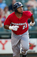 Oklahoma City RedHawks first baseman Jon Singleton (23) hustles down the first base line during the Pacific Coast League baseball game against the Round Rock Express on July 9, 2013 at the Dell Diamond in Round Rock, Texas. Round Rock defeated Oklahoma City 11-8. (Andrew Woolley/Four Seam Images)