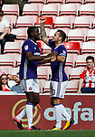 Clayton Donaldson of Sheffield Utd celebrates scoring the first goal during the Championship match at the Stadium of Light, Sunderland. Picture date 9th September 2017. Picture credit should read: Simon Bellis/Sportimage