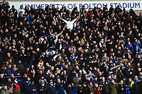 Preston North End fans celebrate<br /> <br /> Photographer Richard Martin-Roberts/CameraSport<br /> <br /> The EFL Sky Bet Championship - Bolton Wanderers v Preston North End - Saturday 9th February 2019 - University of Bolton Stadium - Bolton<br /> <br /> World Copyright © 2019 CameraSport. All rights reserved. 43 Linden Ave. Countesthorpe. Leicester. England. LE8 5PG - Tel: +44 (0) 116 277 4147 - admin@camerasport.com - www.camerasport.com