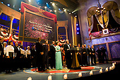 United States President George W. Bush makes closing remarks the performance of an American Celebration at Ford's Theatre in Washington, D.C. on June 25, 2006.  He was joined on stage by first lady Laura Bush and the performers including Tom Selleck.<br /> Credit: Jay L. Clendenin - Pool via CNP
