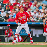 24 February 2019: St. Louis Cardinals top prospect infielder Tyler O'Neill at bat in the 4th inning of a Spring Training game against the Washington Nationals at Roger Dean Stadium in Jupiter, Florida. The Cardinals fell to the Nationals 12-2 in Grapefruit League play. Mandatory Credit: Ed Wolfstein Photo *** RAW (NEF) Image File Available ***