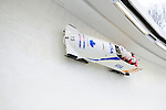 22 November 2009:  Lyndon Rush, piloting the Canada 1 bobsled, leads his 4-man team to a 7th place finish at the FIBT World Cup competition, in Lake Placid, New York, USA. Mandatory Credit: Ed Wolfstein Photo