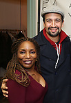 "Stephanie Mills and Lin-Manuel Miranda backstage after a Song preview performance of the Bebe Winans Broadway Bound Musical ""Born For This"" at Feinstein's 54 Below on November 5, 2018 in New York City."