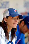 3 July 2005: Mia Hamm, US and International soccer star,waits in the Chicago Cubs dugout prior to her tribute day at Wrigley Field where the Cubs hosted the Washington Nationals. The Nationals defeated the Cubs 5-4 to sweep the 3-game series in front of 40,006 at Wrigley Field in Chicago, IL. Mandatory Photo Credit: Ed Wolfstein