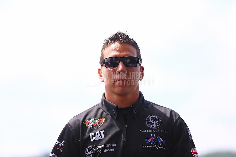 Jun 21, 2015; Bristol, TN, USA; NHRA top fuel driver Dave Connolly during the Thunder Valley Nationals at Bristol Dragway. Mandatory Credit: Mark J. Rebilas-
