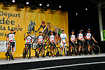 UAE Team Emirates on stage at the Team Presentations for the 105th Tour de France 2018 held on Napoleon Square in La Roche-sur-Yon, France. 5th July 2018. <br /> Picture: ASO/Bruno Bade | Cyclefile<br /> All photos usage must carry mandatory copyright credit (&copy; Cyclefile | ASO/Bruno Bade)