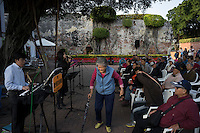 Tourists enjoy life music at Anping Fort in Tainan, Taiwan, 2015. Anping Fort used to be called Fort Zeelandia which was a fortress built over ten years from 1624 to 1634 by the Dutch East India Company (VOC), in the town of Anping (Tainan) on the island of Formosa (present-day Taiwan), during their 38-year rule over the western part of that island.