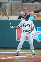 Wander Franco (6) of the Princeton Rays at bat against the Pulaski Yankees at Calfee Park on July 14, 2018 in Pulaski, Virginia. The Rays defeated the Yankees 13-1.  (Brian Westerholt/Four Seam Images)