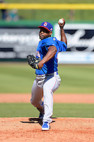 Dominican Republic pitcher Santiago Casilla #44 during a Spring Training game against the Philadelphia Phillies at Bright House Field on March 5, 2013 in Clearwater, Florida.  The Dominican defeated Philadelphia 15-2.  (Mike Janes/Four Seam Images)