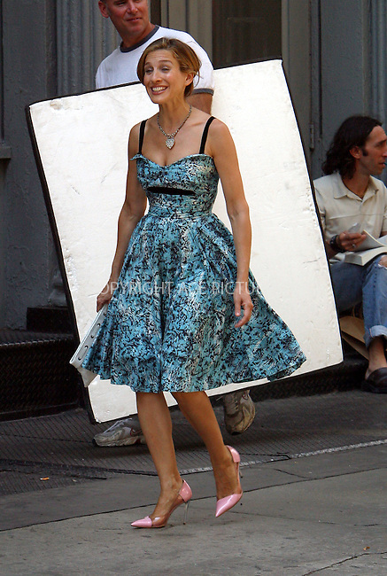 "Sarah Jessica Parker and Cynthia Nixon on the set of ""Sex and the City"" in New York. July 29, 2003. Please byline: NY Photo Press.   ..*PAY-PER-USE*      ....NY Photo Press:  ..phone (646) 267-6913;   ..e-mail: info@nyphotopress.com"