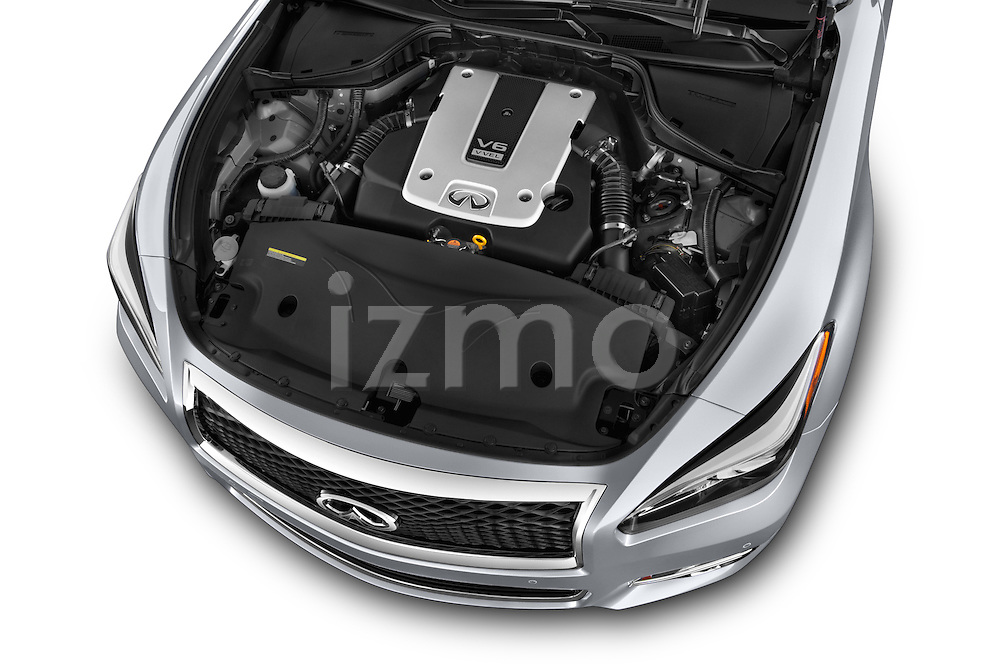 Car Stock 2015 Infiniti Q70 Base 5 Door Sedan Engine high angle detail view