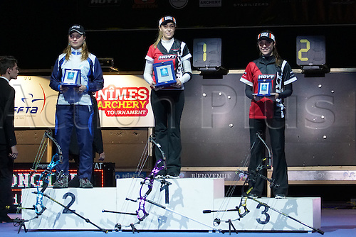 17.01.2016. Nimes, France. The Arc club Nimes Indoor World Championships of Archery.  Ochoa Anderson and Franchini on the winners podium
