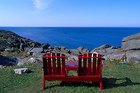Empty Wooden Chairs overlooking Atlantic Ocean at Cape Forchu Lightstation, near Yarmouth, NS, Nova Scotia, Canada - Yarmouth & Acadian Shores Region