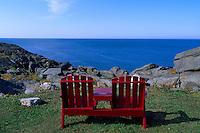 Empty Wooden Chairs overlooking Atlantic Ocean at Cape Forchu Lightstation, near Yarmouth, NS, Nova Scotia, Canada - Yarmouth & Acadian Shores Region