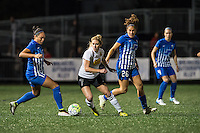 Allston, MA - Saturday Sept. 24, 2016: Kyah Simon, McCall Zerboni, Angela Salem during a regular season National Women's Soccer League (NWSL) match between the Boston Breakers and the Western New York Flash at Jordan Field.