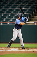 Trenton Thunder catcher Chace Numata (6) at bat during the second game of a doubleheader against the Bowie Baysox on June 13, 2018 at Prince George's Stadium in Bowie, Maryland.  Bowie defeated Trenton 10-1.  (Mike Janes/Four Seam Images)