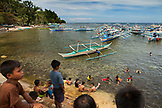 PHILIPPINES, Palawan, Sabang, boats line up in Sabang to take people to sese see the Underground River