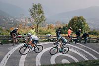 Gianni Moscon (ITA/SKY) &amp; Patrick Konrad (AUT/Bora-Hansgrohe) up the infamous/brutal Muro di Sormano (avg 17%/max 25%)<br /> <br /> 112th Il Lombardia 2018 (ITA)<br /> from Bergamo to Como: 241km