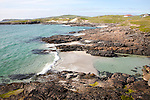Atlantic coastline rocky headlands and small sandy bays near Borgh, Barra, Outer Hebrides, Scotland, UK