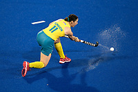 2nd February 2020; Sydney Olympic Park, Sydney, New South Wales, Australia; Womens International FIH Field Hockey, Australia versus Great Britain Women; Karri McMahon of Australia passes the ball forward