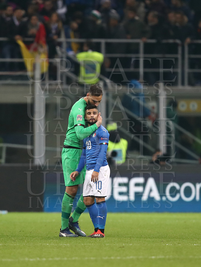Football: Uefa Nations League Group 3match Italy vs Portugal at Giuseppe Meazza (San Siro) stadium in Milan, on November 17, 2018.<br /> Italy's goalkeeper Gianluigi Donnarumma (l) and Lorenzo Insigne (r) at the end of the Uefa Nations League match between Italy and Portugal at Giuseppe Meazza (San Siro) stadium in Milan, on November 17, 2018.<br /> Italy and Portugal drawns 0-0.<br /> UPDATE IMAGES PRESS/Isabella Bonotto