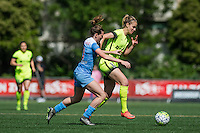 Seattle, WA - Sunday, May 22, 2016: Seattle Reign FC midfielder Beverly Yanez (17) drives down the field during a regular season National Women's Soccer League (NWSL) match at Memorial Stadium. Chicago Red Stars won 2-1.