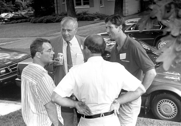 Freshman picnic at Dooley's Home in downtown Washington, D.C. on 06-08-92. L to R, Bacchas, Digell, C. Dooley and Michael Kopetski.