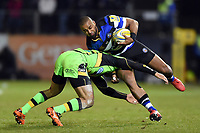 Aled Brew of Bath Rugby takes on the Northampton Saints defence. Aviva Premiership match, between Bath Rugby and Northampton Saints on February 9, 2018 at the Recreation Ground in Bath, England. Photo by: Patrick Khachfe / Onside Images