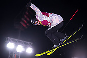 1st December 2017, Moenchengladbach, Germany;  Domunique Ohaco of Chile in action during the women's finals of the Big Air Freestyle Skiing World Cup at the SparkassenPark venue in Moenchengladbach, Germany, 1 December 2017.