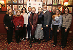 Stan Ponte, Julie White, Harriet Harris and Gabriel Stelian-Shanks with the board attending the 2018 Drama League Awards nominees at Sardi's on April 18, 2018 in New York City.