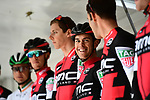Richie Porte (AUS) and his BMC Racing Team on the podium for the team presentation before Stage 1 of the Criterium du Dauphine 2017, running 170.5km from Saint Etienne to Saint Etienne, France. 4th June 2017. <br /> Picture: ASO/A.Broadway | Cyclefile<br /> <br /> <br /> All photos usage must carry mandatory copyright credit (&copy; Cyclefile | ASO/A.Broadway)
