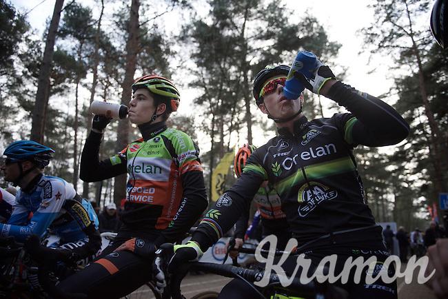 Wout Van Aert (BEL/Crelan-Vastgoedservice) & Sven Nys (BEL/Crelan-AAdrinks) synchro-drinking at the start<br /> <br /> 2016 Belgian National CX Championships