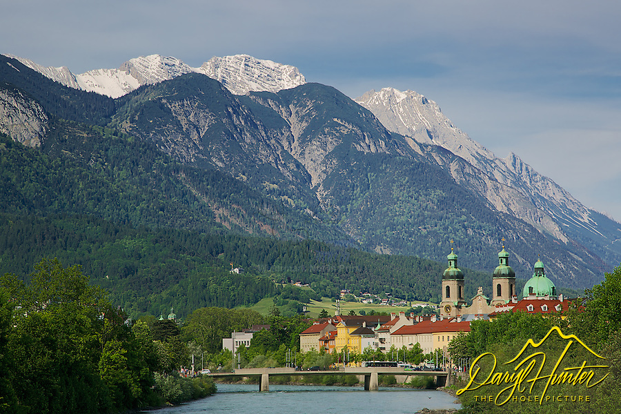Beneath the slopes of Nordkette Mountain flows the Inn River where Innsbruck Austria finds a home.