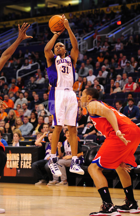 Dec. 28, 2011; Phoenix, AZ, USA; Phoenix Suns guard Sebastian Telfair during game against the Philadelphia 76ers at the US Airways Center. The 76ers defeated the Suns 103-83. Mandatory Credit: Mark J. Rebilas-USA TODAY Sports