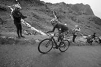 Peter Hawkins (IRL) struggling up Honister Pass on the cruel 23% part<br /> <br /> Tour of Britain<br /> stage 2: Carlisle to Kendal (187km)