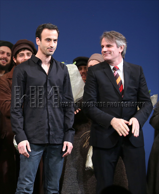 Hofesh Shechter and Bartlett Sher during the Broadway Opening Night Performance Curtain Call bows for 'Fiddler On The Roof'  at the Broadway Theatre on December 20, 2015 in New York City.
