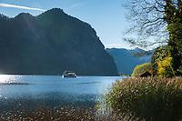 Austria, Upper Austria, Salzkammergut, Mondsee: excursion boat on lake Mondsee with Drachenwand mountain at background |Oesterreich, Oberoesterreich, Salzkammergut, Mondsee: Ausflugsschiff auf dem Mondsee, im Hintergrund die Drachenwand in den Salzkammergut-Bergen