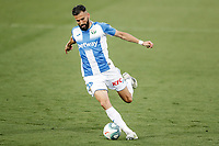 12th July 2020; Estadio Municipal de Butarque, Madrid, Spain; La Liga Football, Club Deportivo Leganes versus Valencia; Dimitrios Siovas (CD Leganes) crosses into the box