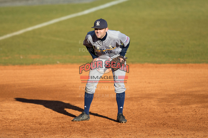 Rice Owls third baseman Grayson Lewis (22) on defense against the Charlotte 49ers at Hayes Stadium on March 6, 2015 in Charlotte, North Carolina.  The Owls defeated the 49ers 4-2.  (Brian Westerholt/Four Seam Images)