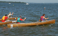 Paddlers start the fist leg of 2010 Paddle & Portage in Lake Mendota, paddling a loop from James Madison Park in Madison, Wisconsin on Saturday, July 17, 2010
