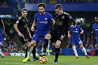 Cesc Fabregas of Chelsea and Jamie Vardy of Leicester city during Chelsea vs Leicester City, Premier League Football at Stamford Bridge on 13th January 2018