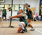 8 November 2009: Enosburg Falls Girls participate in the 2009 High School Volleyball State Championships hosted by Vermont Commons School at the Sports and Fitness Edge in South Burlington, Vermont. The Enosburg Falls Hornets successfully defended their boys' title while the VCS Flying Turtles rallied to maintain their girls' team crown. Mandatory Credit: Ed Wolfstein Photo