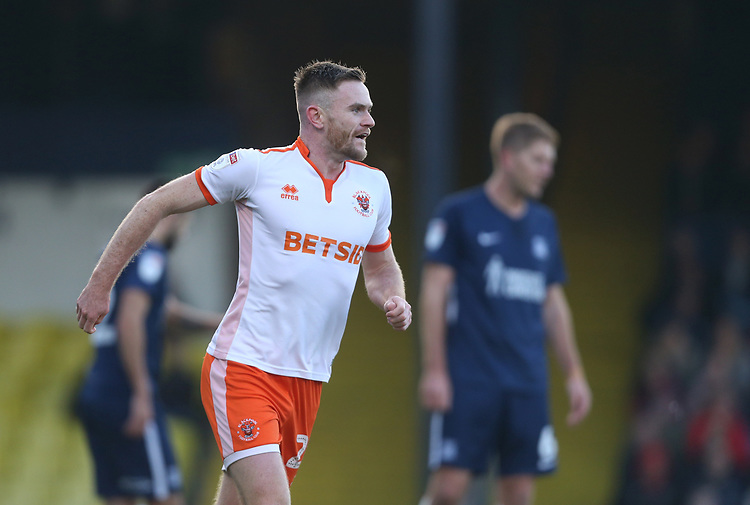 Blackpool's Oliver Turton celebrates scoring his side's first goal <br /> <br /> Photographer Rob Newell/CameraSport<br /> <br /> The EFL Sky Bet League One - Southend United v Blackpool - Saturday 17th November 2018 - Roots Hall - Southend<br /> <br /> World Copyright © 2018 CameraSport. All rights reserved. 43 Linden Ave. Countesthorpe. Leicester. England. LE8 5PG - Tel: +44 (0) 116 277 4147 - admin@camerasport.com - www.camerasport.com