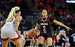 SIOUX FALLS, SD - MARCH 7: Rayanna Carter #2 of the Omaha Mavericks brings the ball up court against the South Dakota Coyotes at the 2020 Summit League Basketball Championship in Sioux Falls, SD. (Photo by Richard Carlson/Inertia)
