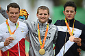(L-R) Kris Bosmans (BEL), Steffen Warias (GER), Fabio Anobile (ITA), <br /> SEPTEMBER 16, 2016 - Cycling - Road : <br /> Men's Road Race C1-2-3 Medal Ceremony <br /> at Pontal <br /> during the Rio 2016 Paralympic Games in Rio de Janeiro, Brazil.<br /> (Photo by AFLO SPORT)