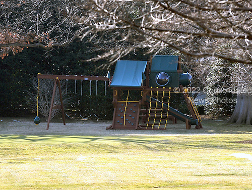 Washington, D.C. - March 6, 2009 -- New swing set constructed by President Barack Obama and first lady Michelle Obama for their daughters Malia and Sasha on South Lawn of the White House just outside the Oval Office.Credit: Ron Sachs / Pool via CNP