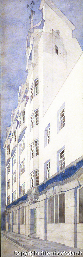 Mackintosh Collection: Hunterian Gallery, U. of Glasgow. Daily Record<br /> Building Perspective 1901.